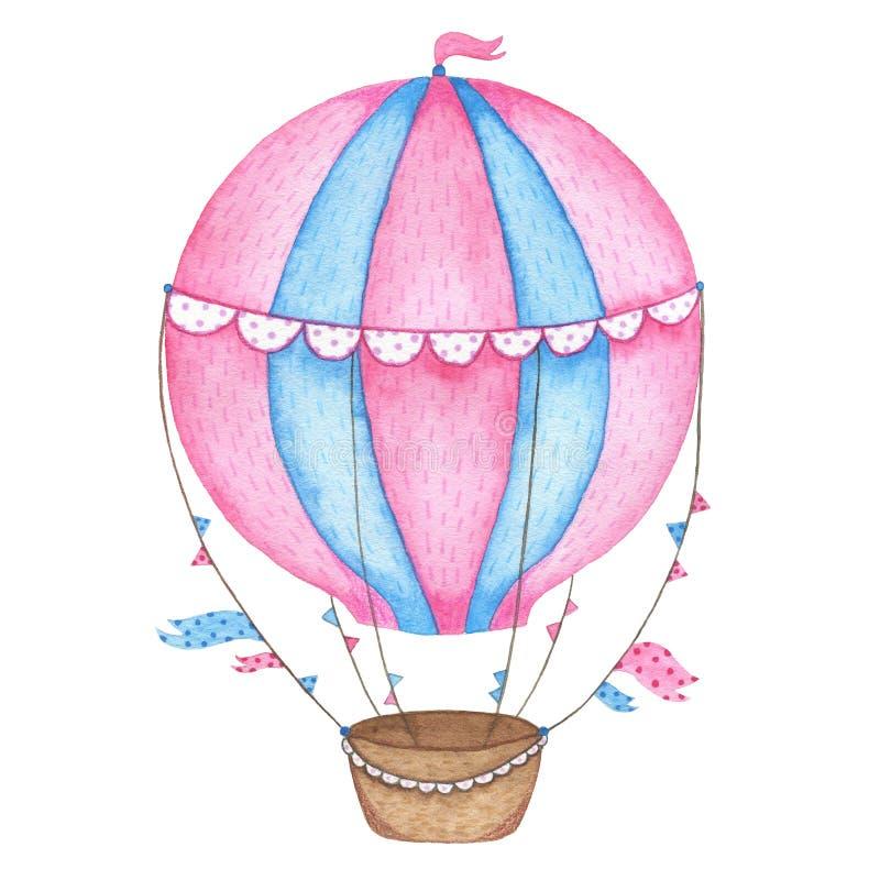 Globo pintado a mano del aire caliente de la acuarela aislado en el fondo blanco stock de ilustración