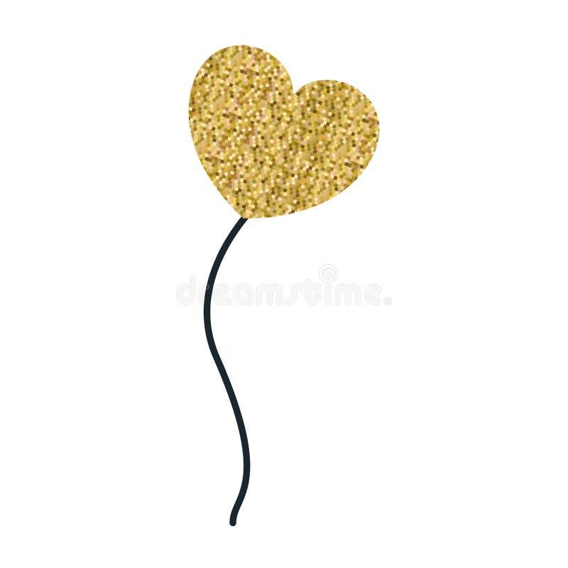 Globo pixelated amarillo de la silueta del color en la flotación de la forma del corazón stock de ilustración