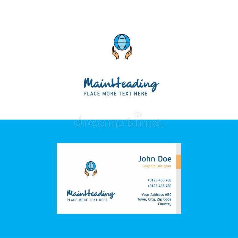 Globo plano en logotipo de las manos y plantilla de la tarjeta de visita Concepto Logo Design de Busienss libre illustration