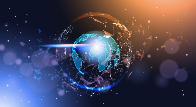 Globo poligonal de la tierra en de Bokeh del fondo brillar intensamente geométrico polivinílico del mapa del mundo bajo ilustración del vector