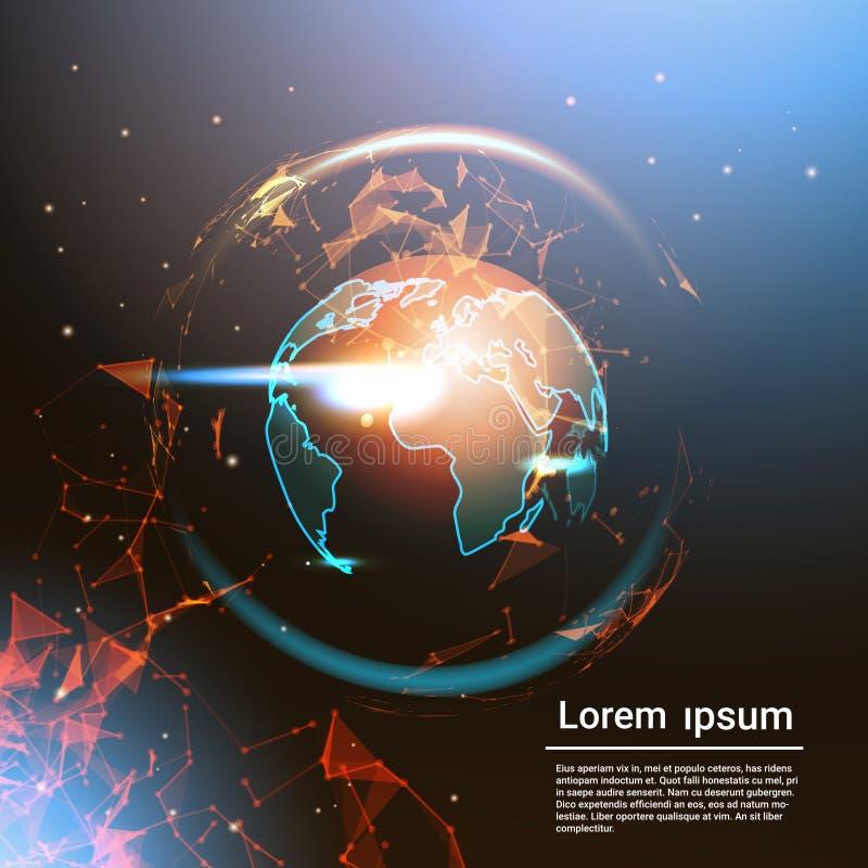 Globo poligonal de la tierra que brilla intensamente en fondo de la plantilla con el mapa del mundo geométrico polivinílico del e ilustración del vector