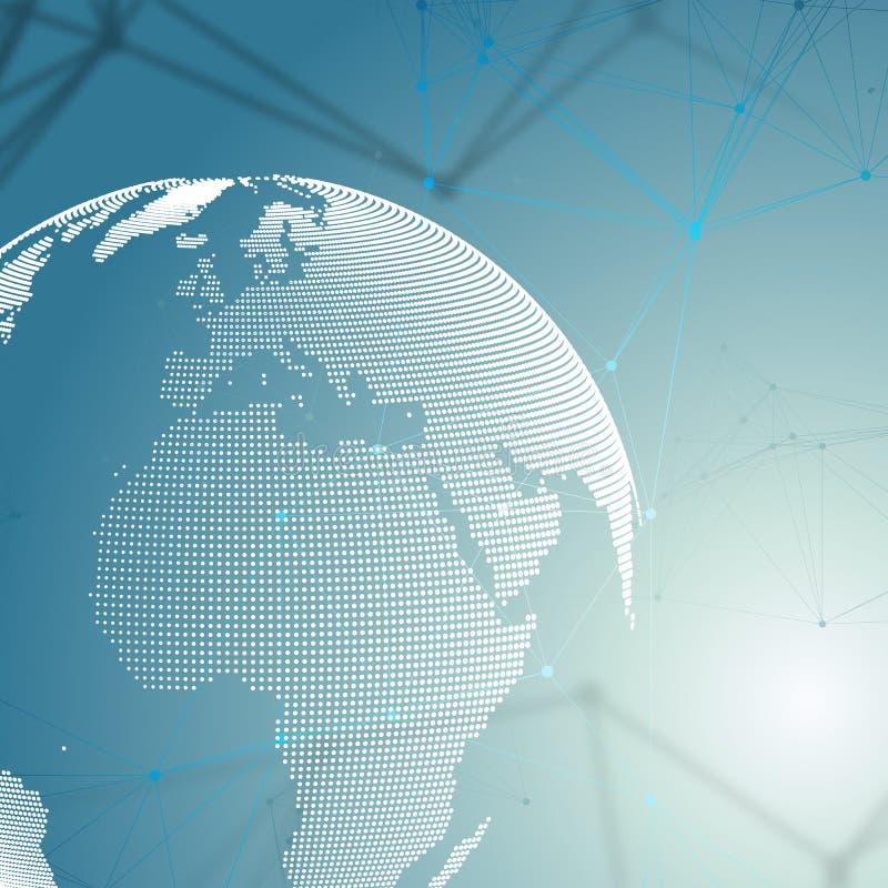 Globo pontilhado do mundo com teste padrão da química, linhas de conexão e pontos Estrutura da molécula no azul ADN médico cientí ilustração royalty free