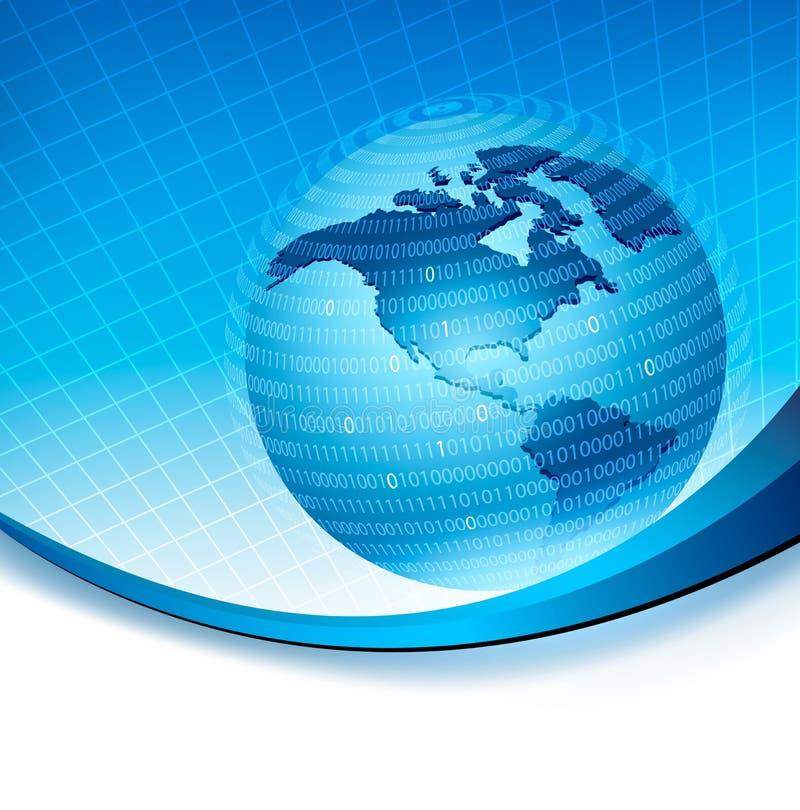 Globo prendido em uma esfera feita do código binário ilustração stock