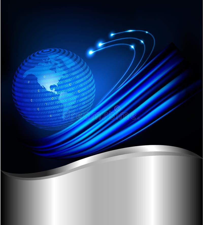 Globo prendido em uma esfera feita do código binário ilustração royalty free