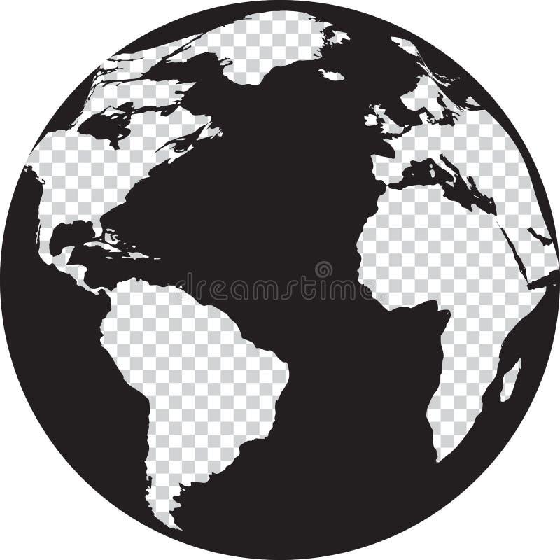 Globo preto e branco com continentes da transparência ilustração royalty free