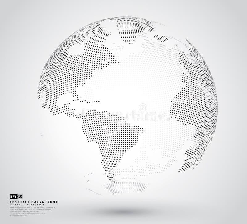 globo punteado abstracto 3D ilustración del vector