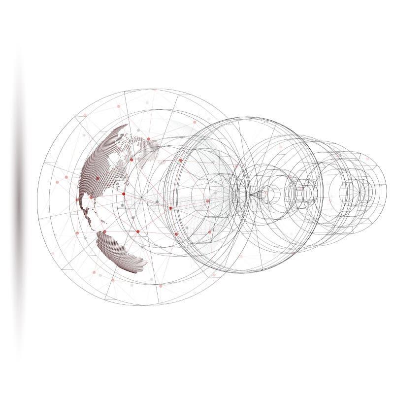 Globo punteado del mundo con la construcción abstracta, líneas de conexión y puntos, moléculas en el fondo blanco libre illustration