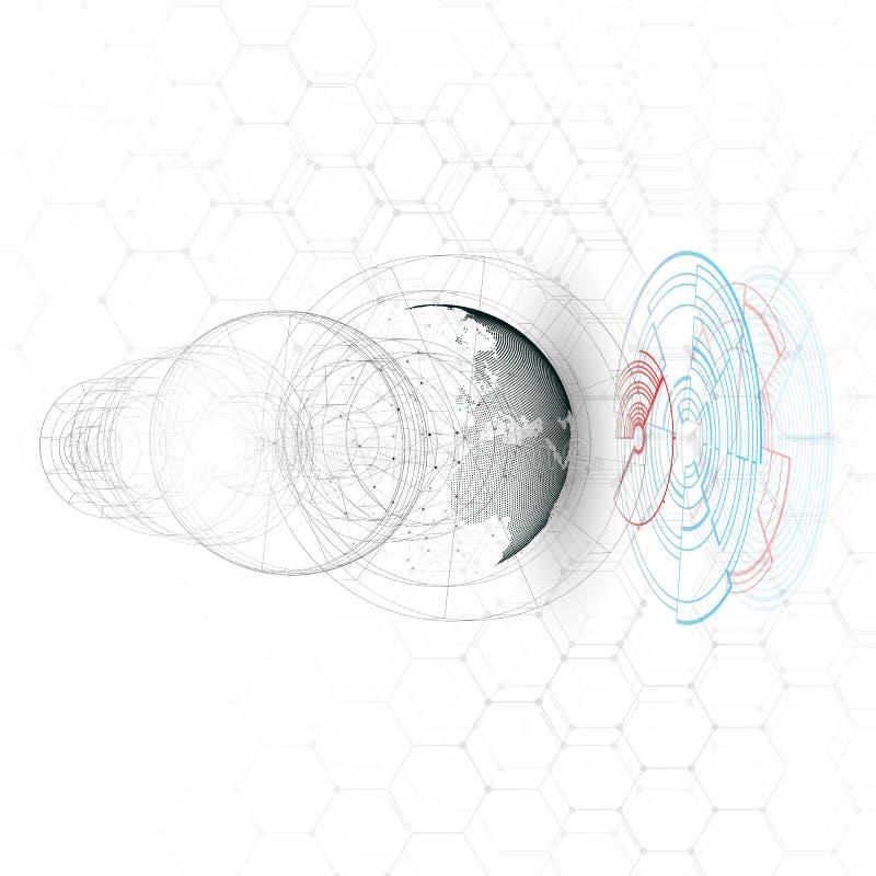 Globo punteado del mundo, líneas de conexión, construcción abstracta, estación espacial, órbita aislada ilustración del vector