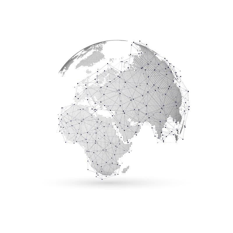 Globo punteado tridimensional del mundo con la construcción abstracta y moléculas en el fondo blanco, diseño polivinílico bajo