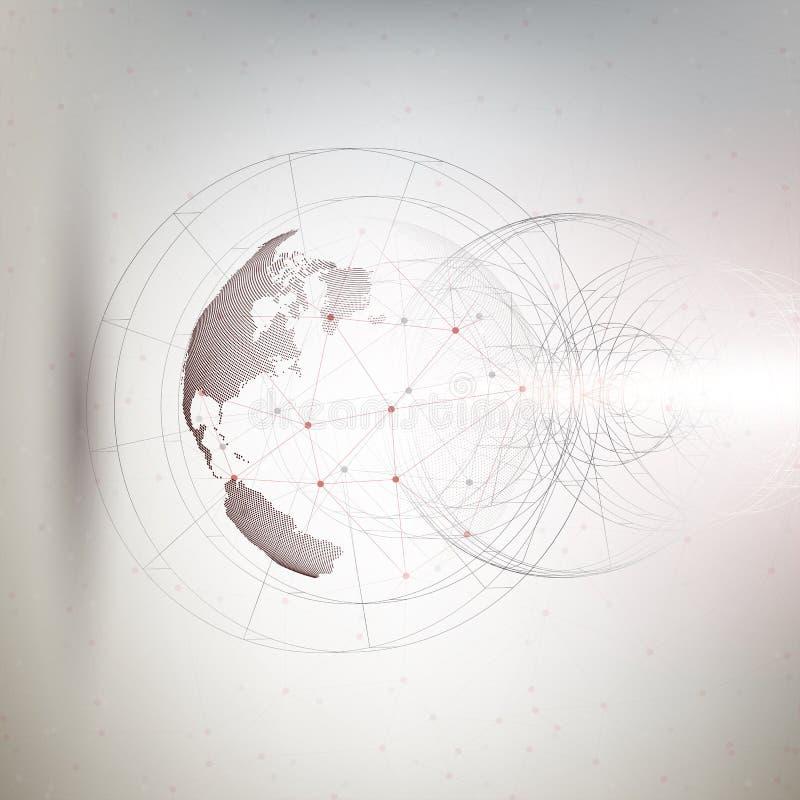 Globo punteggiato tridimensionale del mondo con costruzione astratta e molecole su fondo grigio, poli vettore basso di progettazi royalty illustrazione gratis