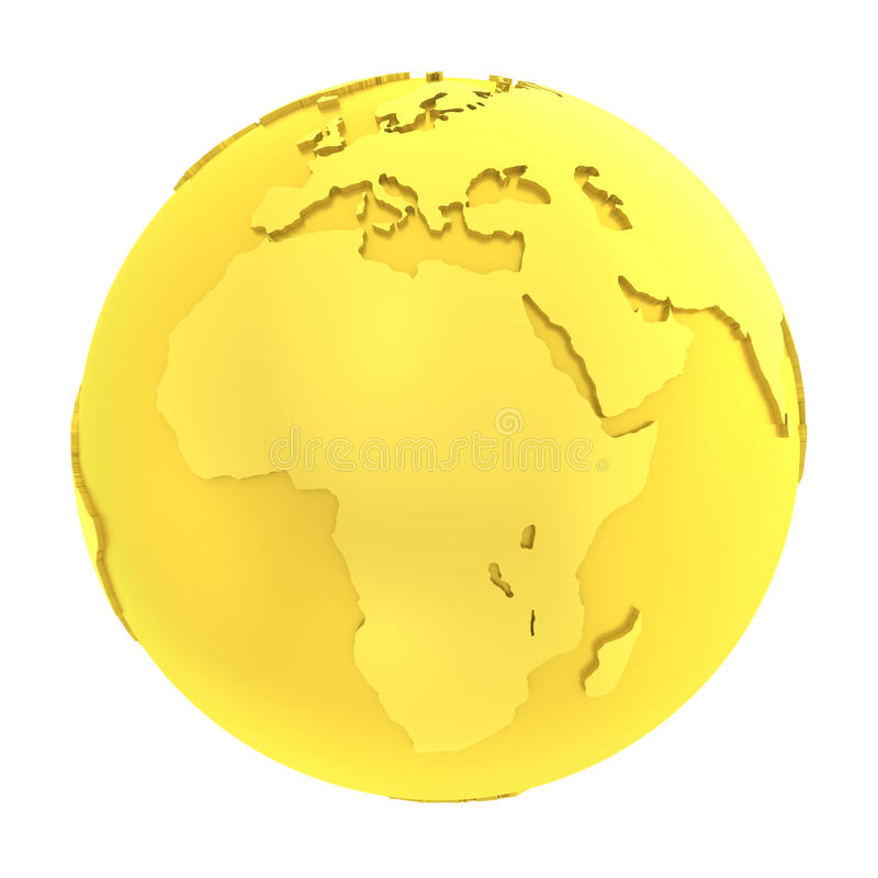 globo puro dell'oro della terra dorata 3D illustrazione vettoriale