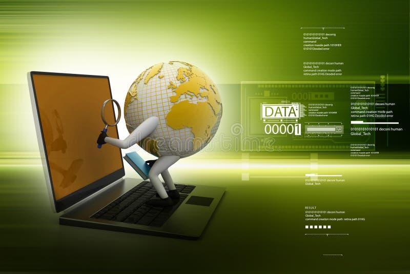 Globo que mira en el ordenador portátil ilustración del vector