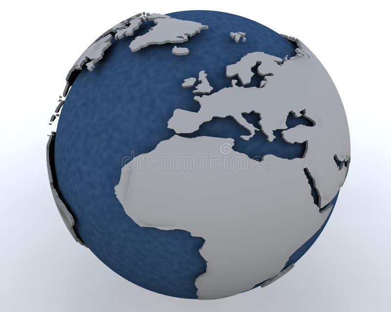 Globo que muestra la África del Norte y Europa ilustración del vector