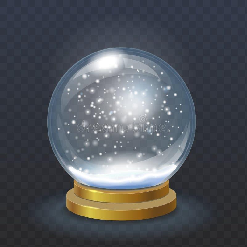 Globo realístico da neve do Natal isolado ilustração do vetor