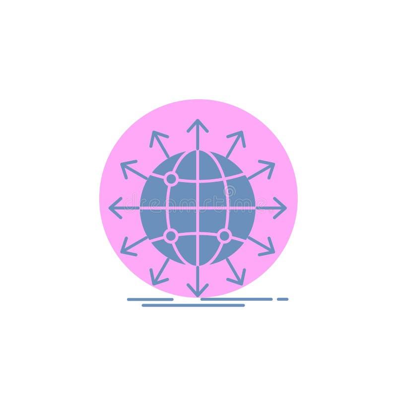 globo, rede, seta, notícia, ícone mundial do Glyph ilustração do vetor
