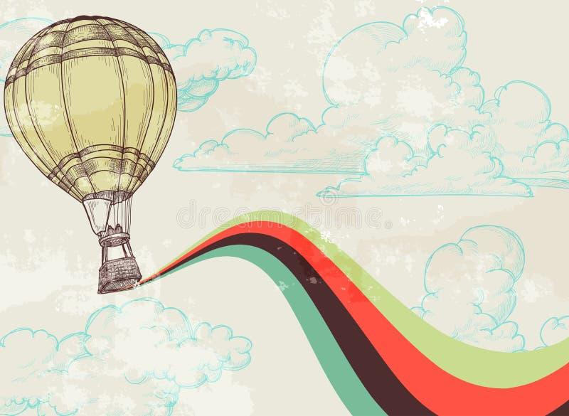 Globo retro del aire caliente ilustración del vector