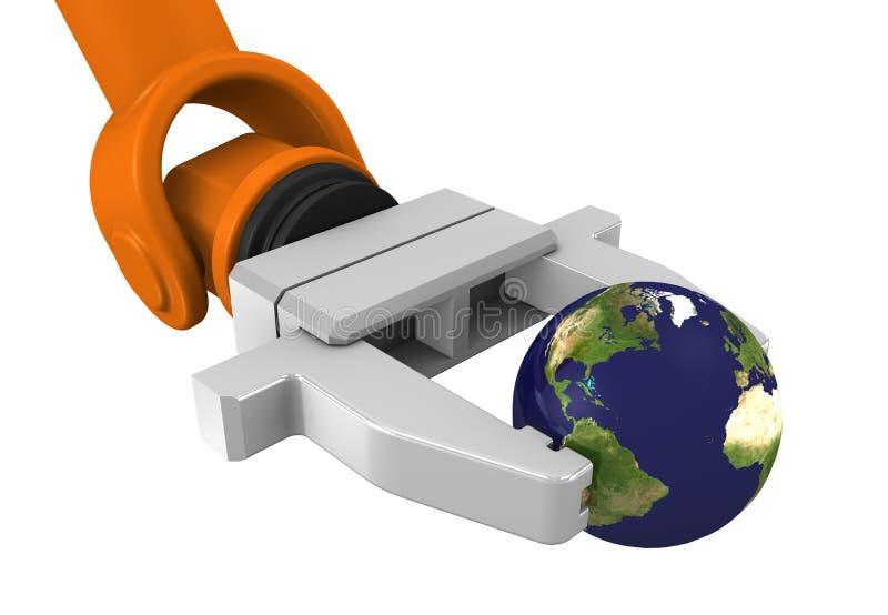 Globo robótico da terra arrendada de braço ilustração do vetor