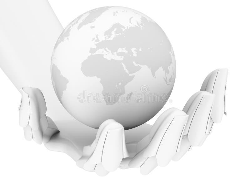 Globo robótico da terra da terra arrendada da mão isolado no branco ilustração do vetor