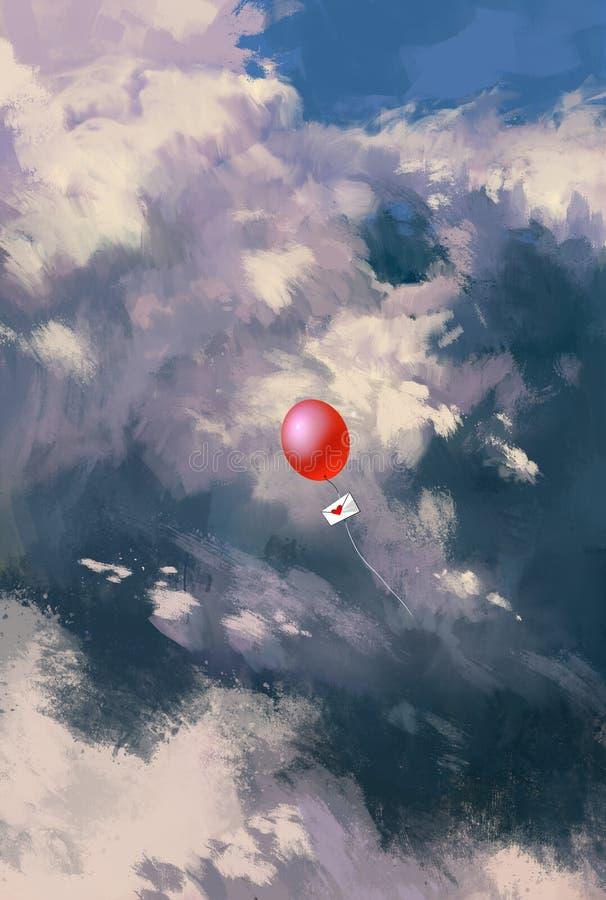 Globo rojo con el sobre de la letra de amor que flota en el cielo ilustración del vector