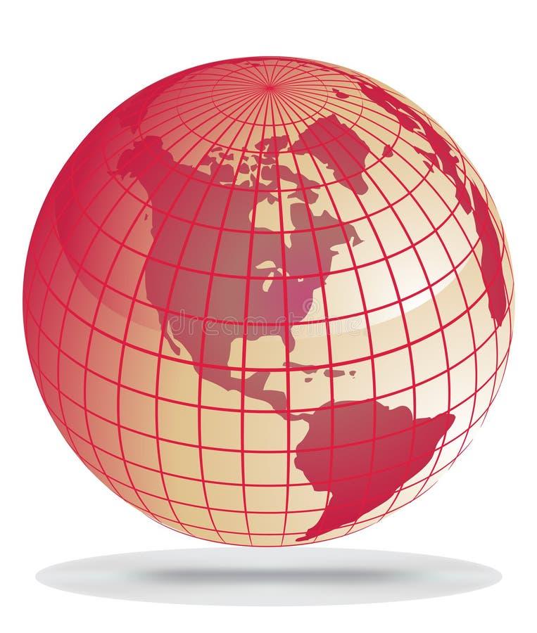 Globo rojo de la tierra ilustración del vector