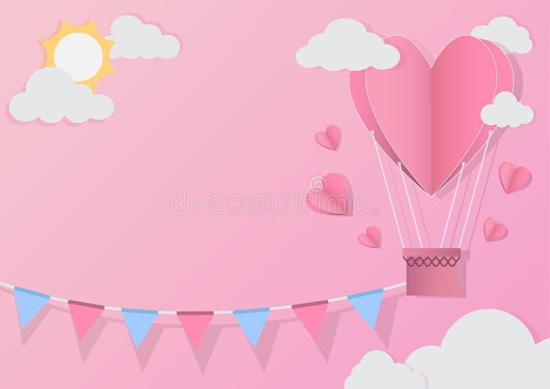 Globo rojo del corazón en fondo abstracto Tarjeta de la invitaci?n del amor estilo del corte del papel Ilustraci?n del vector ilustración del vector