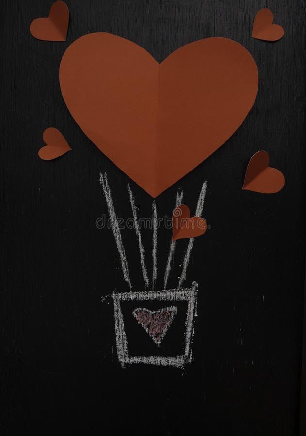 Globo rojo del corazón para la pizarra de día de San Valentín fotos de archivo libres de regalías