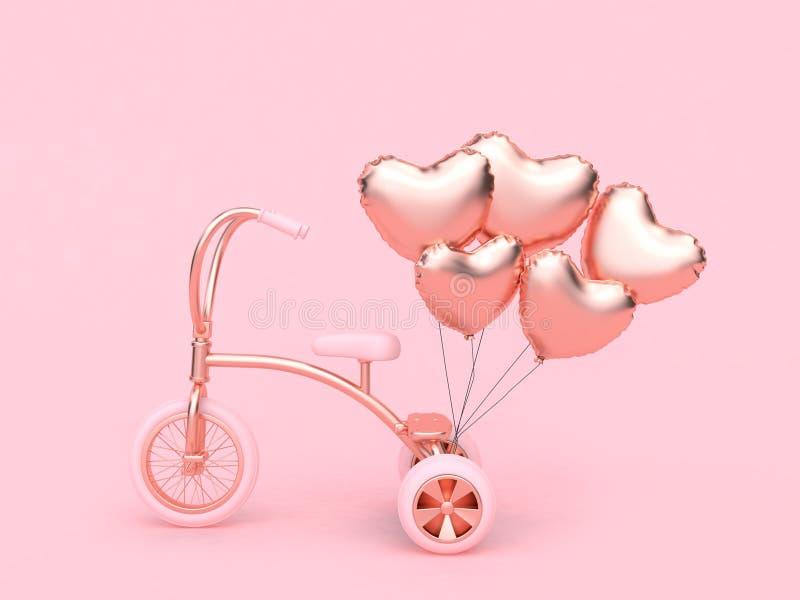 globo rosado del corazón de la triciclo-bici que flota 3d para rendir concepto de la tarjeta del día de San Valentín del amor ilustración del vector