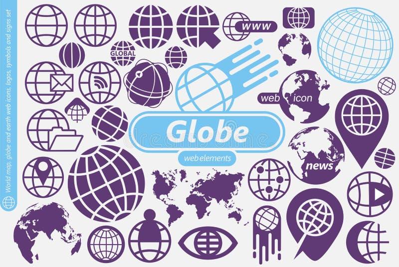 Globo, símbolos do mapa do mundo e da terra, ícones, logotipos e coleção dos elementos do projeto ilustração do vetor