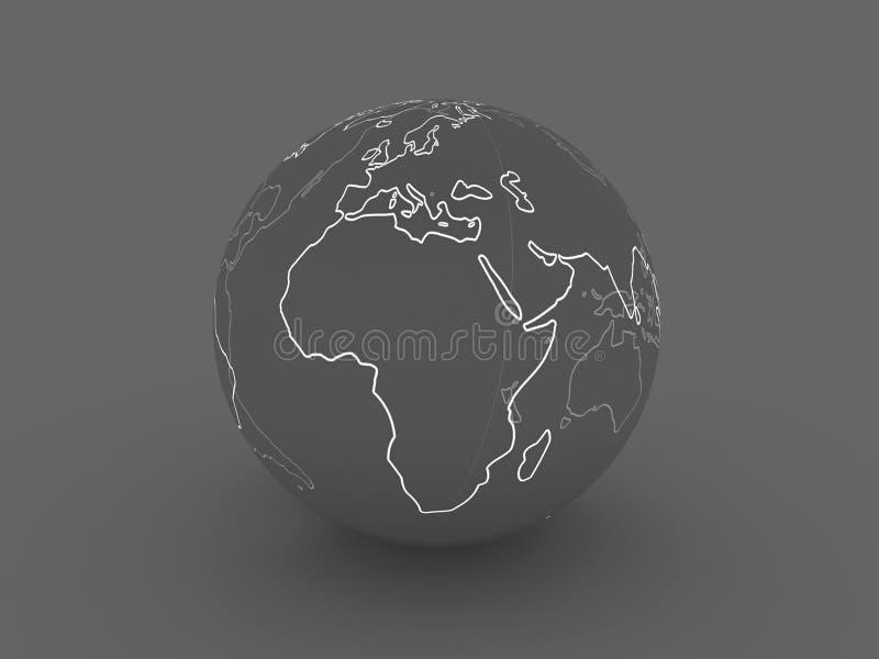 Globo scuro - Europa, Africa illustrazione vettoriale