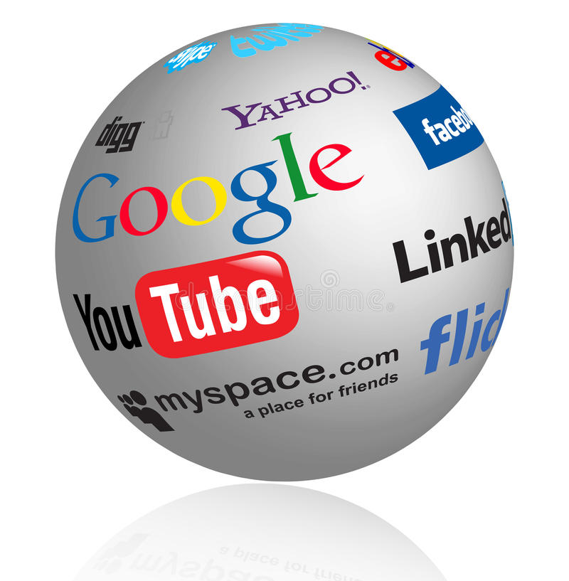Globo social de las insignias de los media libre illustration