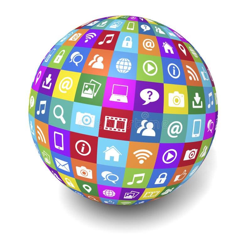 Globo sociale di media di Internet e di web illustrazione vettoriale