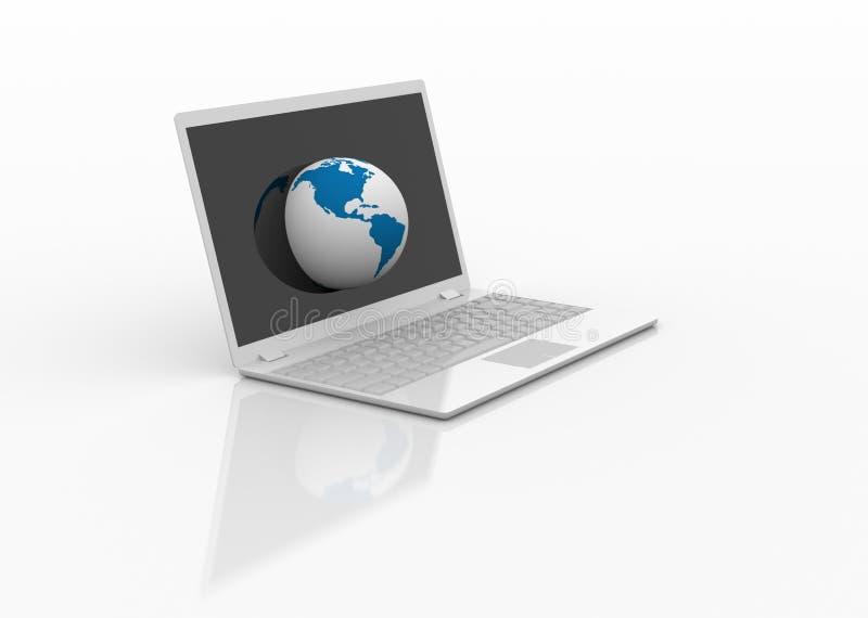 Globo sul computer portatile. illustrazione vettoriale