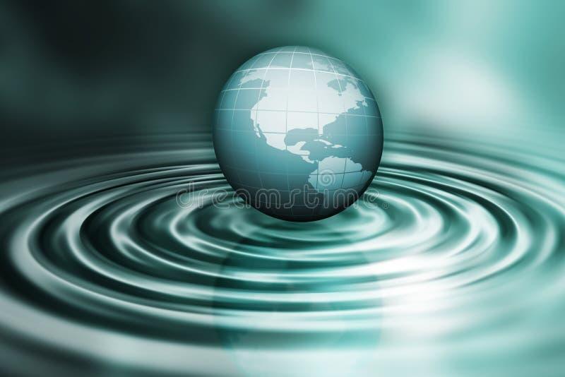 Globo sulle ondulazioni dell'acqua illustrazione di stock
