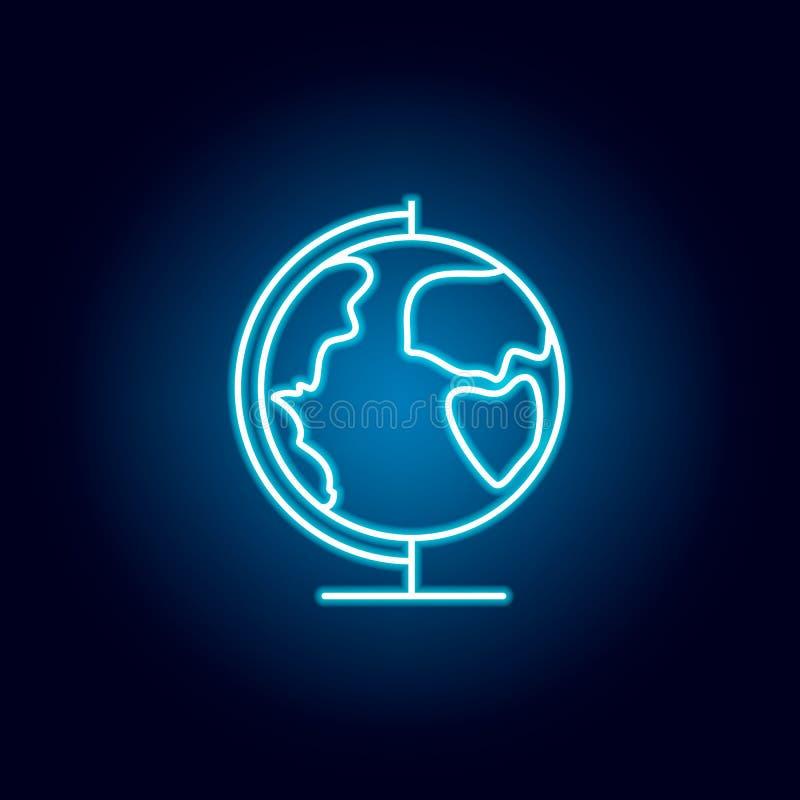 globo, terra, ícone do esboço da geografia no estilo de néon elementos da linha ícone da ilustração da educação os sinais, símbol ilustração do vetor