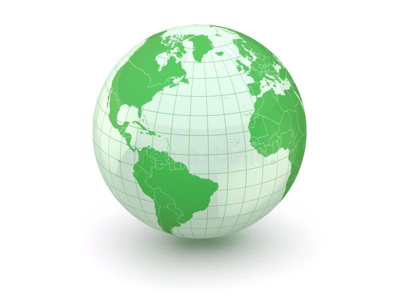 Globo. Terra e mapa do mundo. 3d ilustração royalty free