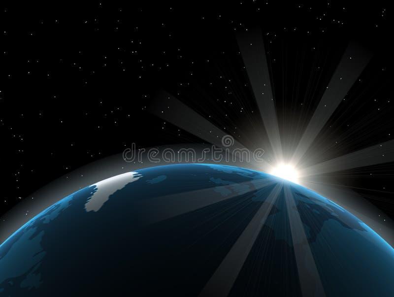 Globo/terra e Sun ilustração do vetor