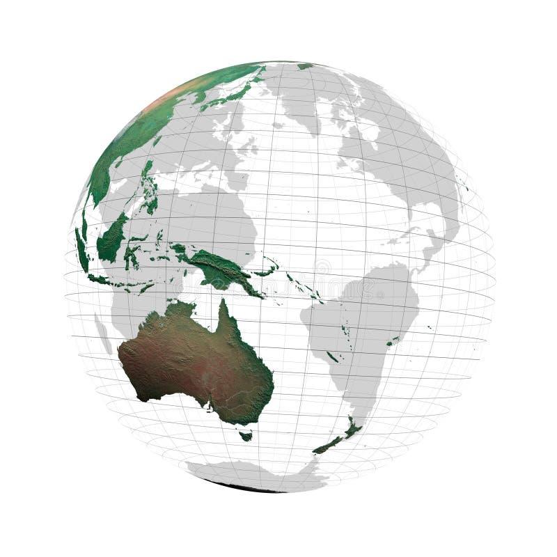 Globo transparente con los continentes y el sistema de red stock de ilustración
