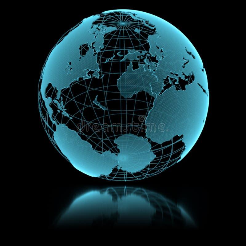 Globo trasparente brillante blu della terra illustrazione vettoriale