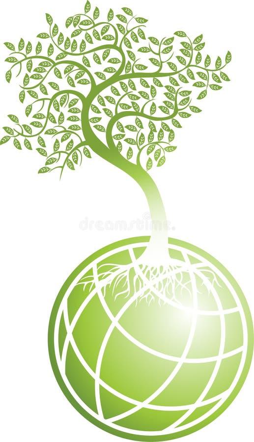 Globo verde com árvore ilustração stock