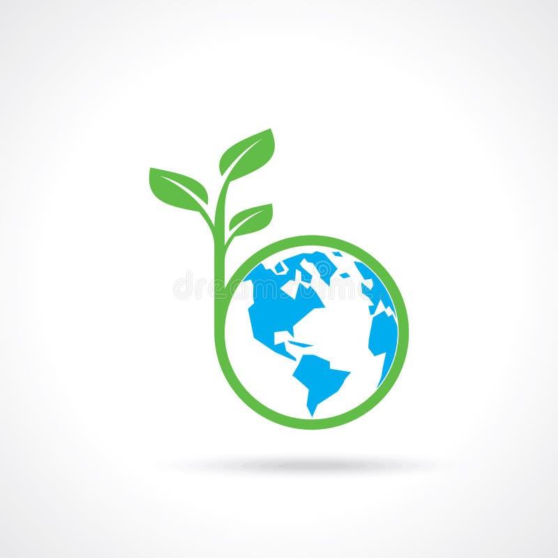 Globo verde con el árbol verde América ilustración del vector