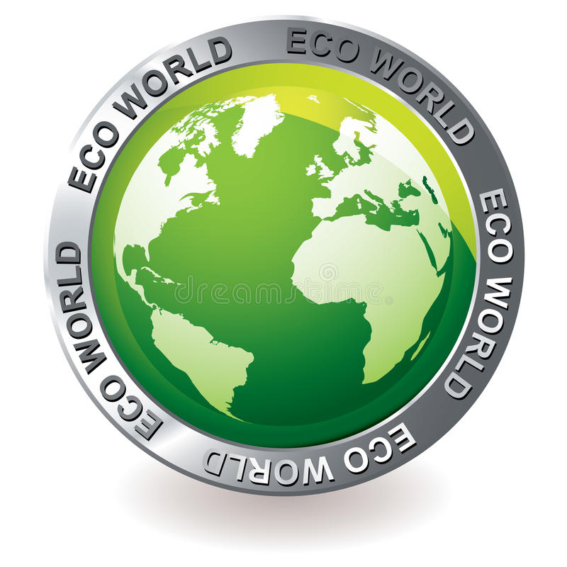 Globo verde da terra do eco do ícone ilustração stock
