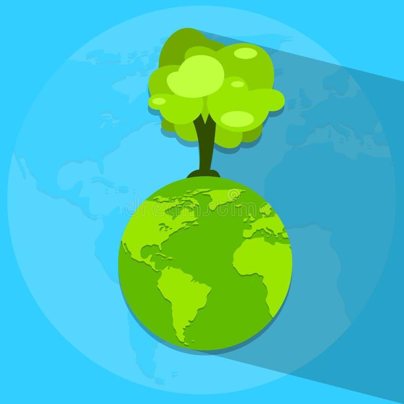 Globo verde del Día de la Tierra con el árbol creciente stock de ilustración