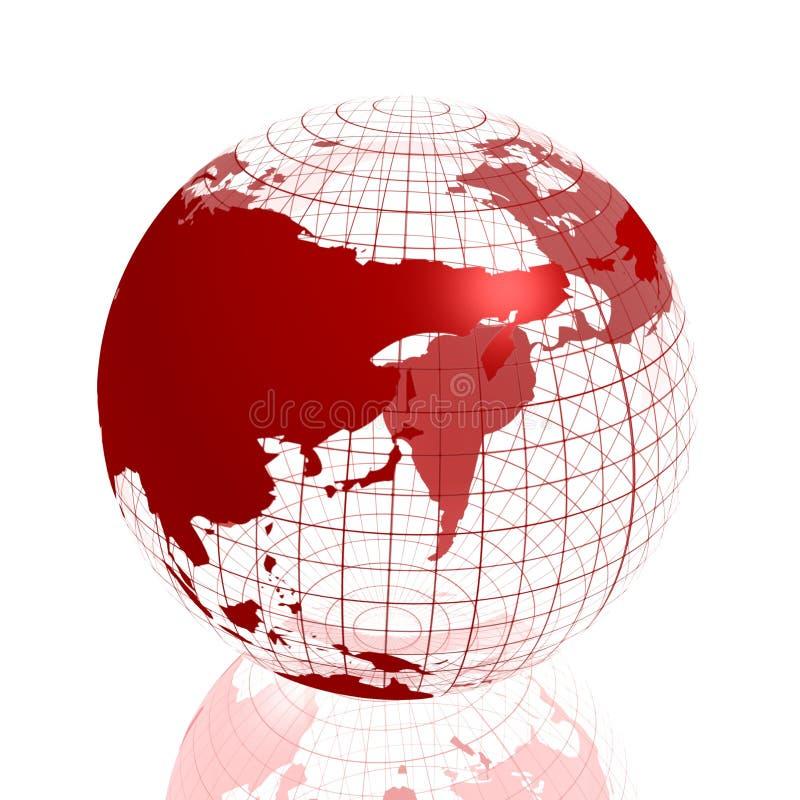 Globo vermelho de Ásia 3d ilustração do vetor