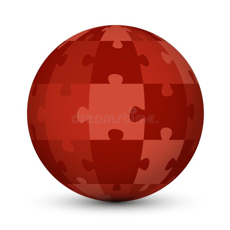 Globo vermelho do enigma ilustração royalty free