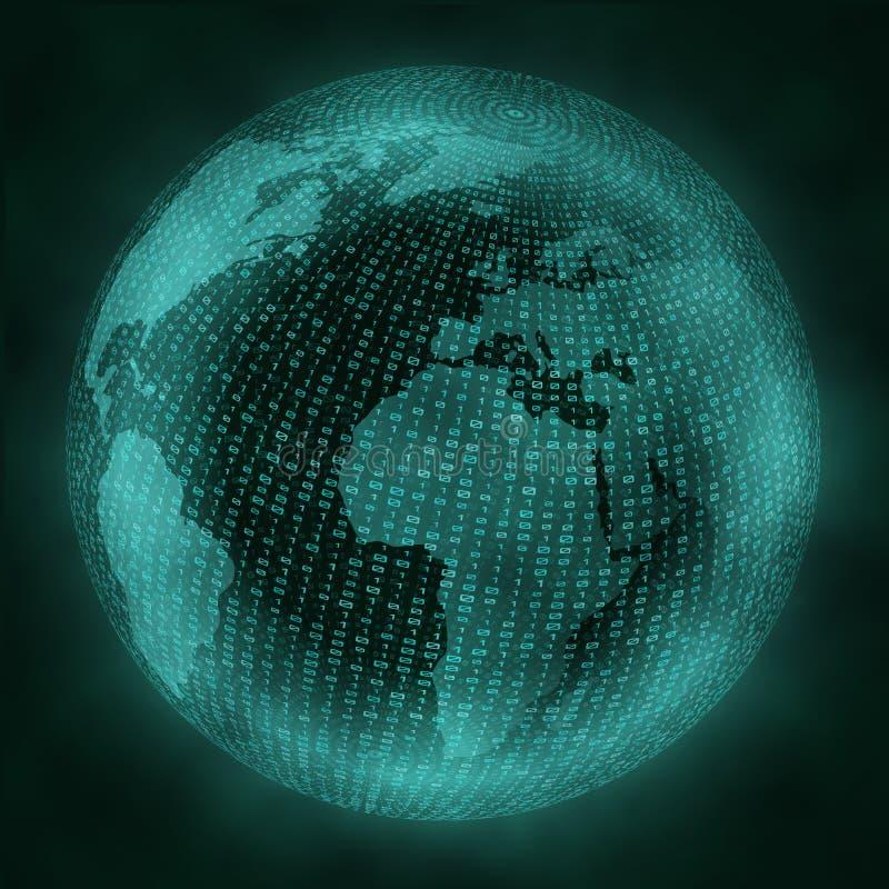 Globo virtual con código binario Concepto de la realidad virtual ilustración del vector