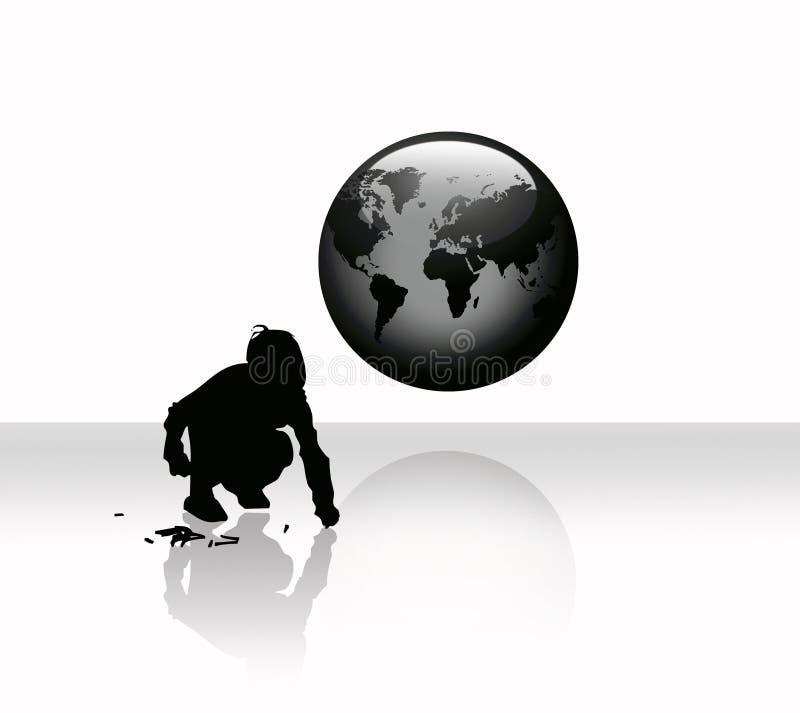 Globo, worldmap e un bambino illustrazione di stock