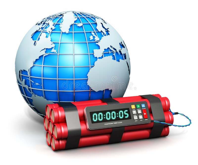 Globo y bomba de relojería de la tierra stock de ilustración