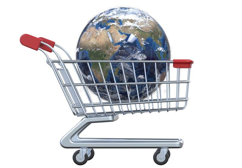 Globo y carro de la compra de la vista lateral con la trayectoria de recortes stock de ilustración