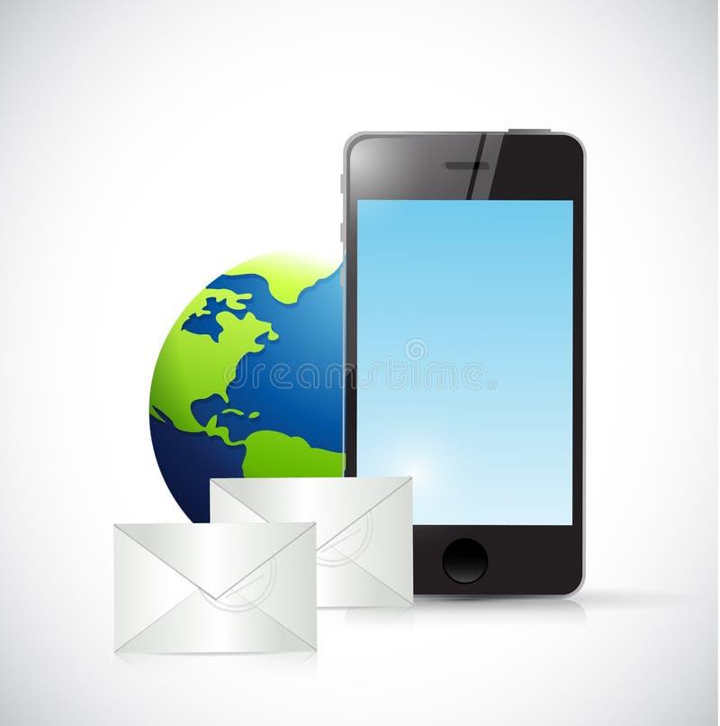 Globo y correos electrónicos del teléfono. diseño del ejemplo ilustración del vector