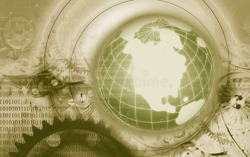 Globo y engranajes de la tierra ilustración del vector